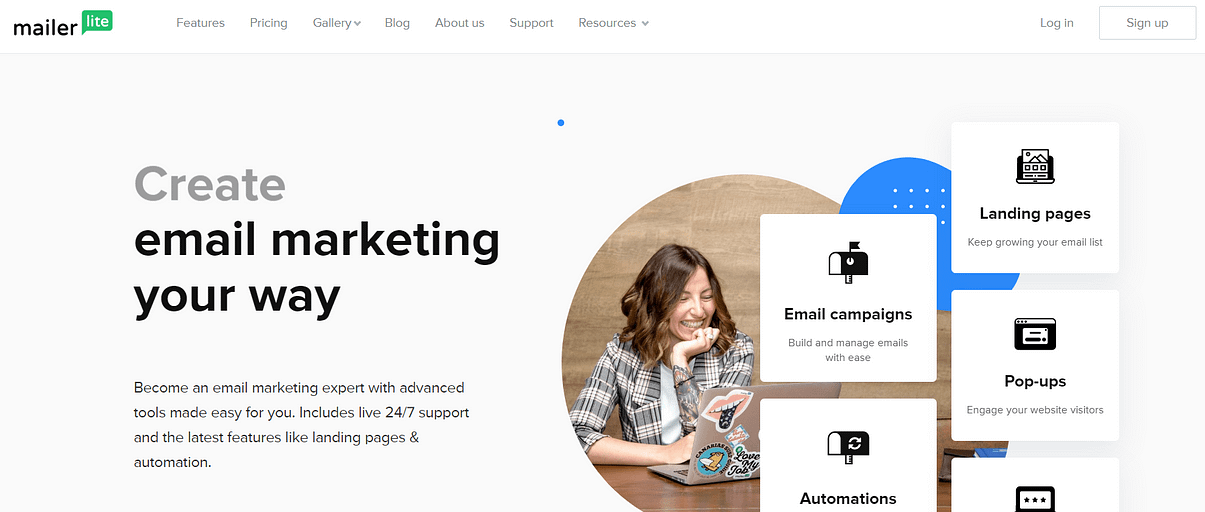 The MailerLite website.