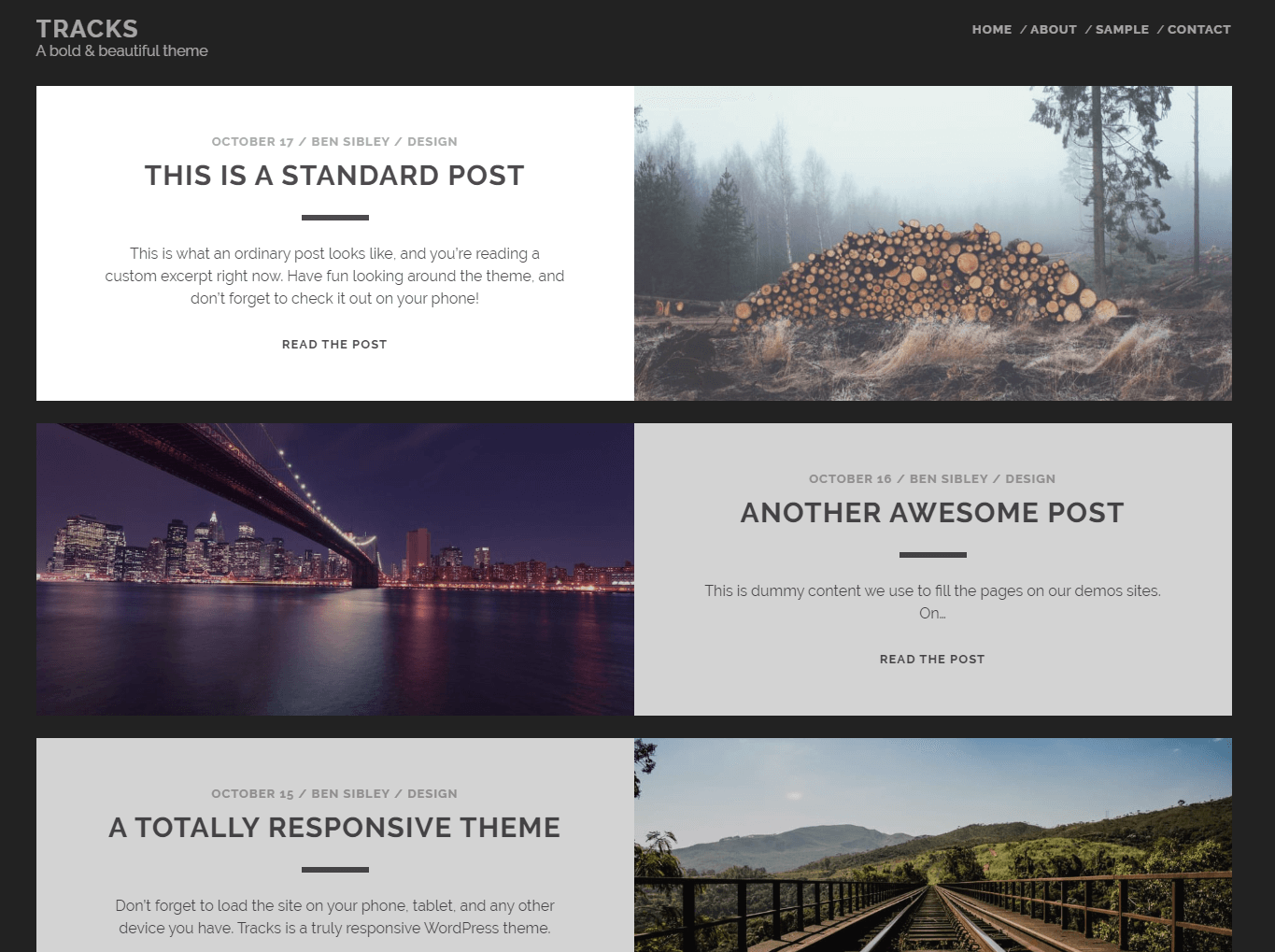 Tracks free WordPress blog theme