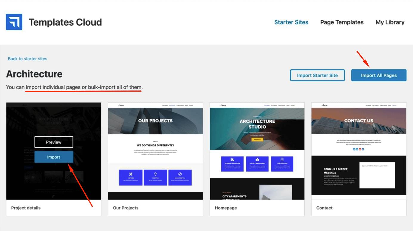 Você pode importar páginas individuais ou páginas em massa usando o modelo de nuvem do Neve