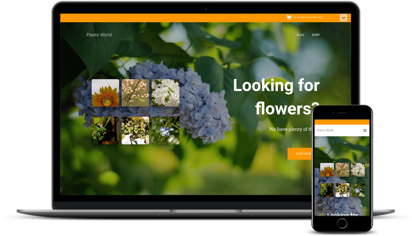 The Hestia Lite eCommerce starter site on desktop and mobile.