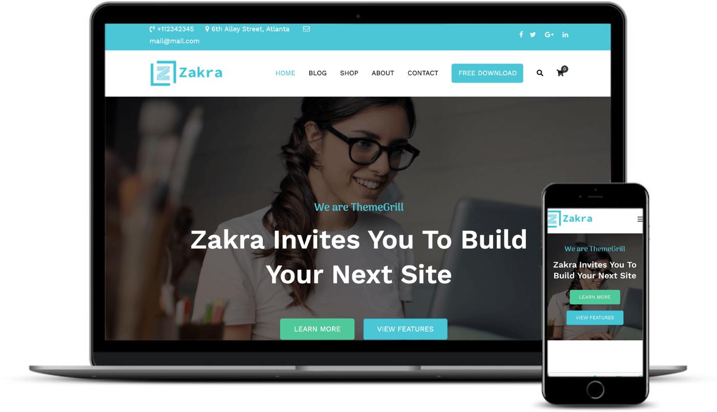 The Zakra theme on desktop and mobile.