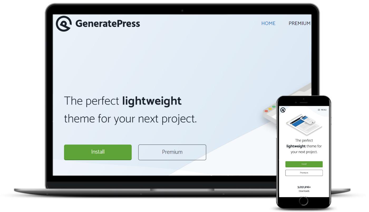 Tema GeneratePress no desktop e no celular.