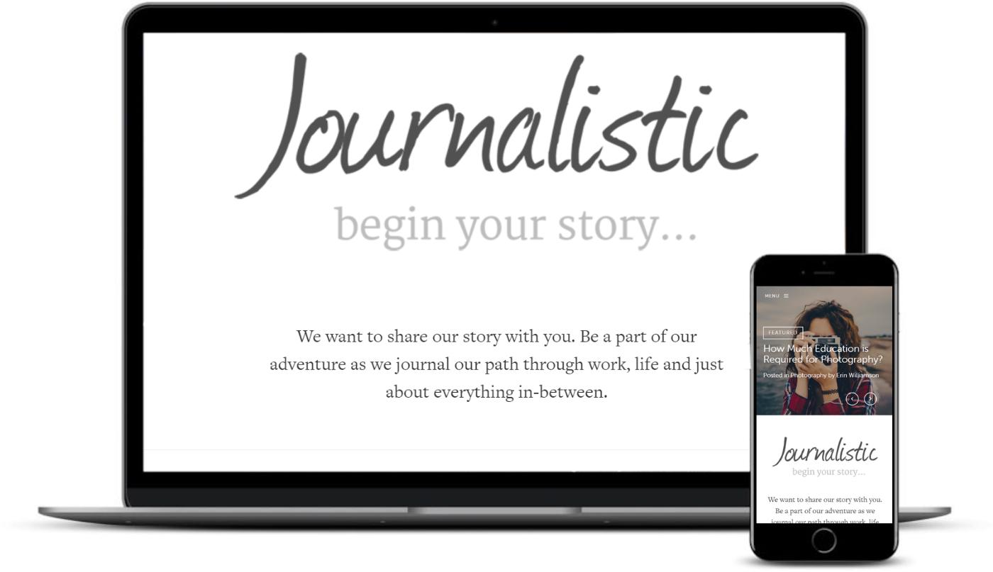 Tema jornalístico no desktop e no celular.
