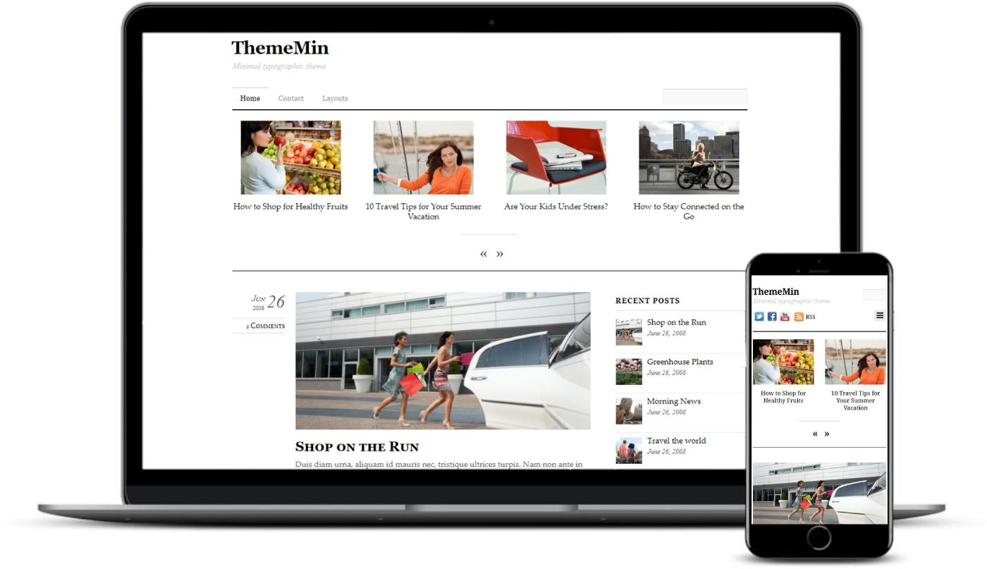 Temas WordPress como Mediuam incluem ThemeMin.
