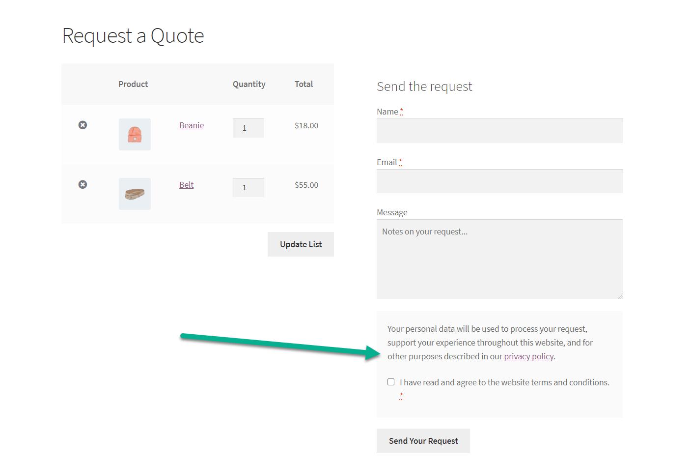 declaração de privacidade: WooCommerce solicita um orçamento