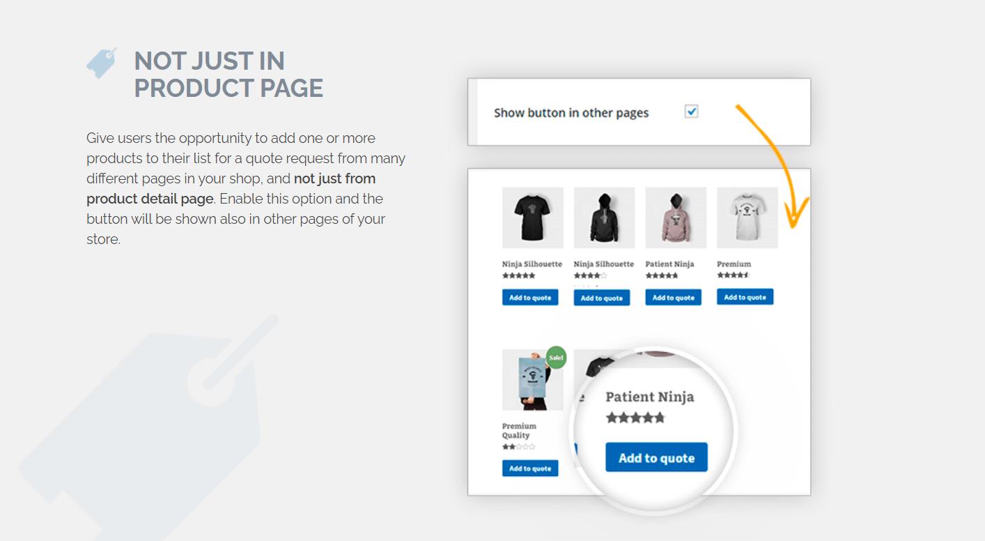 não apenas na página do produto: WooCommerce solicita um orçamento