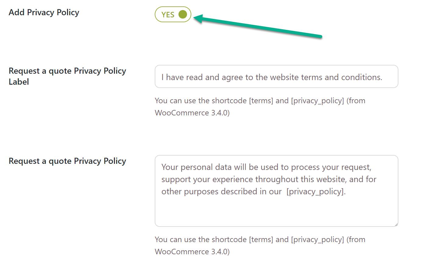 adicionar política de privacidade