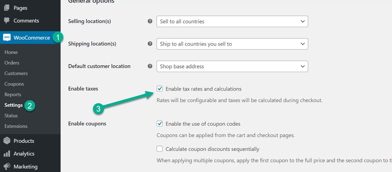 habilitar taxas de impostos para contabilidade WooCommerce