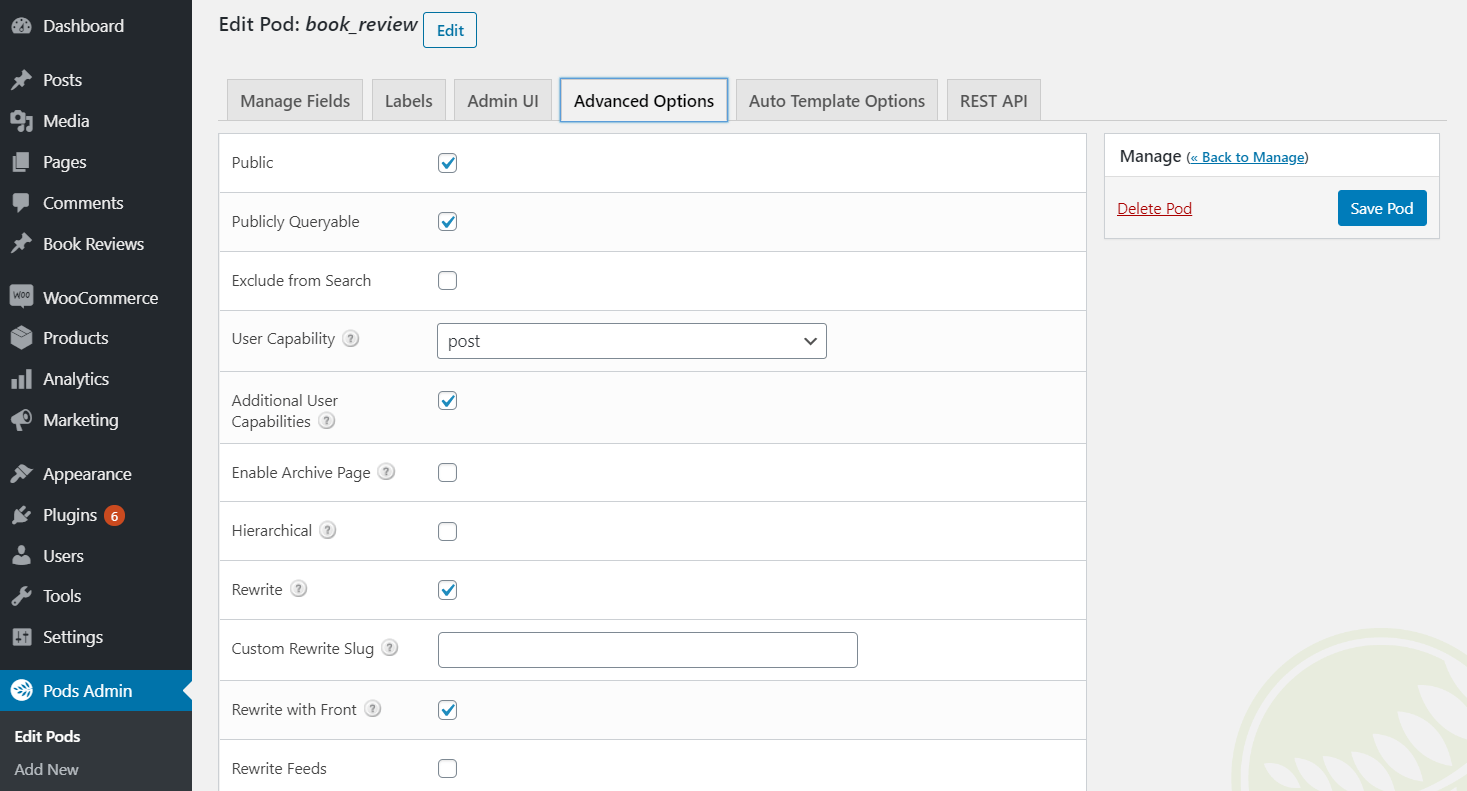 Pods' Advanced Options tab.