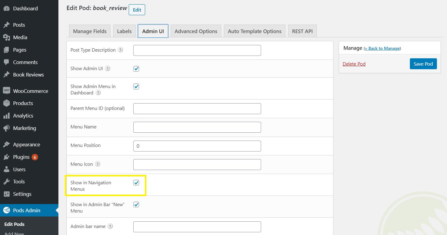 Pods' custom UI tab.