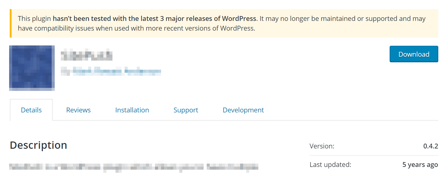 An outdated plugin in the WordPress Plugin Directory.