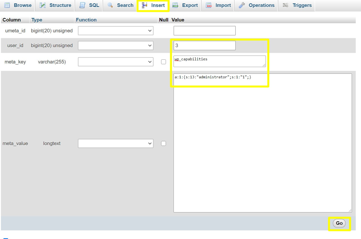 Add user meta values to the new admin user