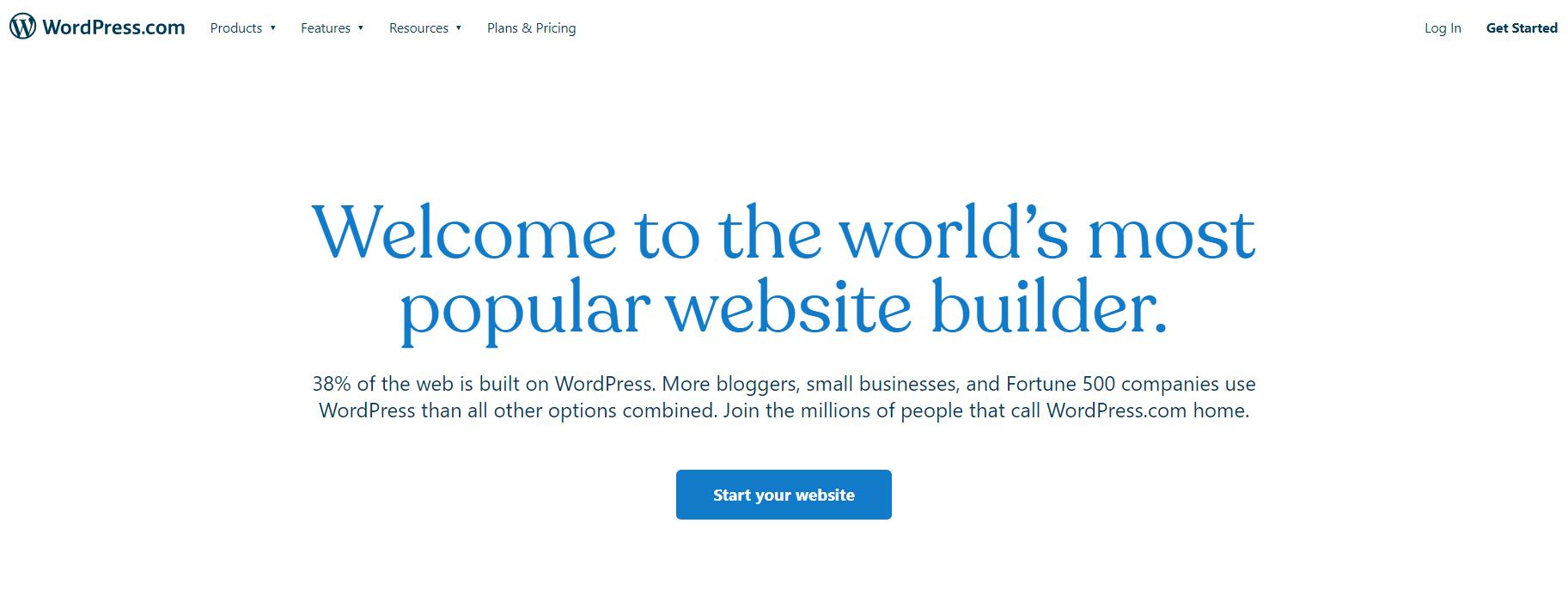 Construtor de sites WordPress.com.