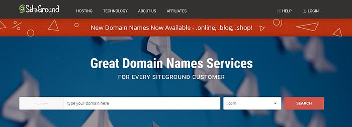 best domain registrars: SiteGround