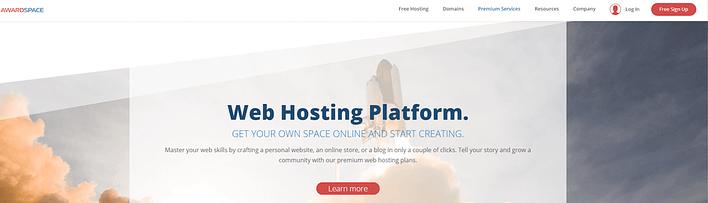Plateforme d'hébergement Web AwardSpace.