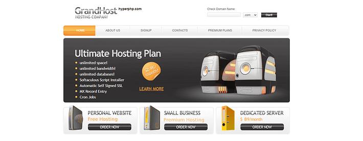 HyperPHP Service gratuit d'hébergement Web