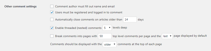 The Other Comment Settings section in WordPress.