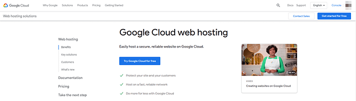 Google Cloud web hosting.