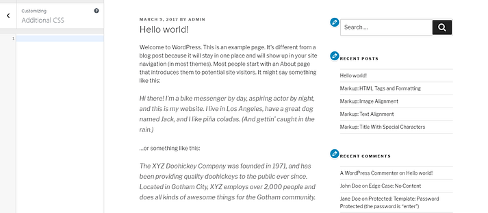 A basic post in WordPress.