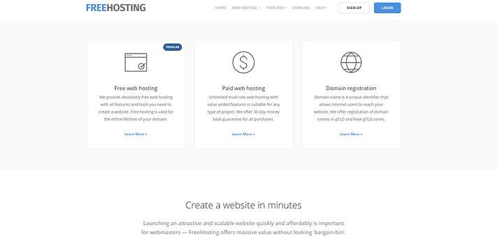 FreeHosting website hosting.