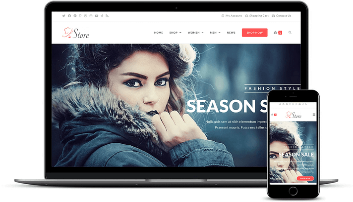 best free WooCommerce themes: The OceanWP Store demo on desktop and mobile.
