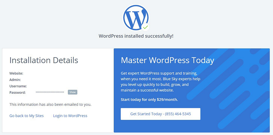 De WordPress-installatiedetails op Bluehost