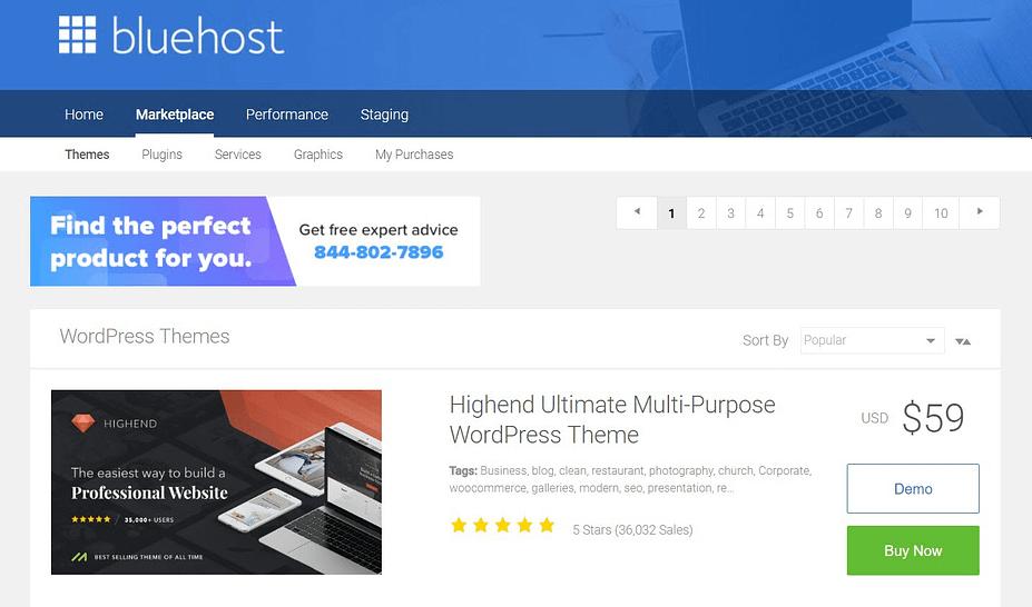De Bluehost-marktplaats nadat u WordPress hebt geïnstalleerd