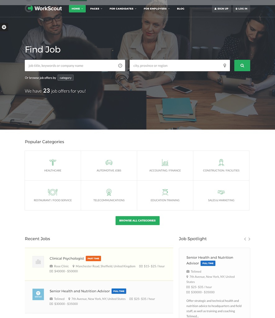 The WorkScout theme.