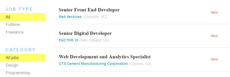 An example of a WordPress job board.