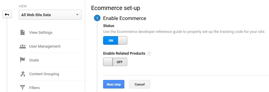 Enabling e-commerce tracking for Google Analytics.