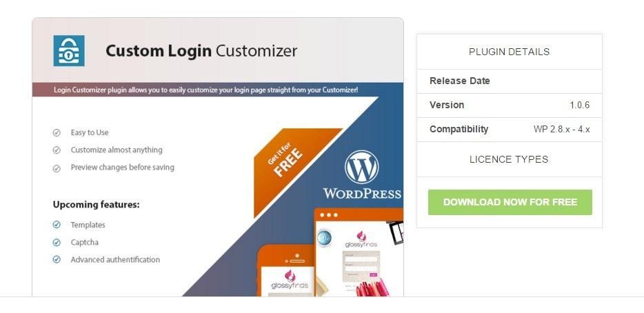 custom login customizer