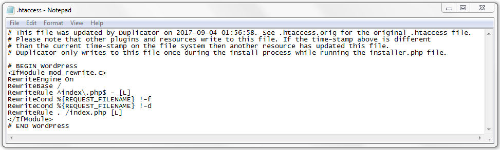 An example of the .htaccess file in WordPress.