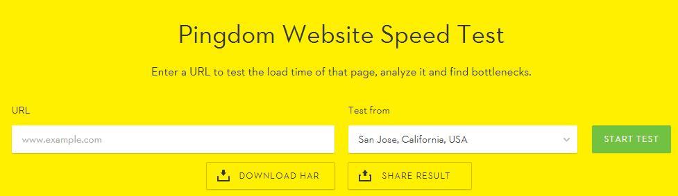 A screenshot of the Pingdom homepage.