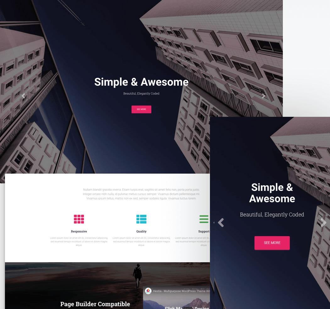 Our popular WordPress theme, Hestia, and the responsive header