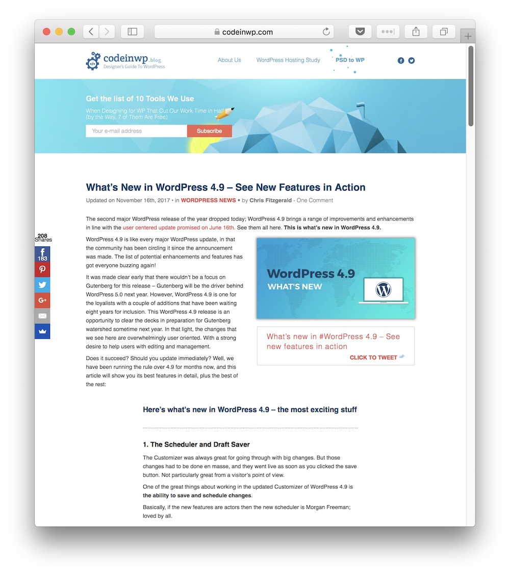 CodeinWP is a solid example of a blog that creates consistent, quality long-form content.
