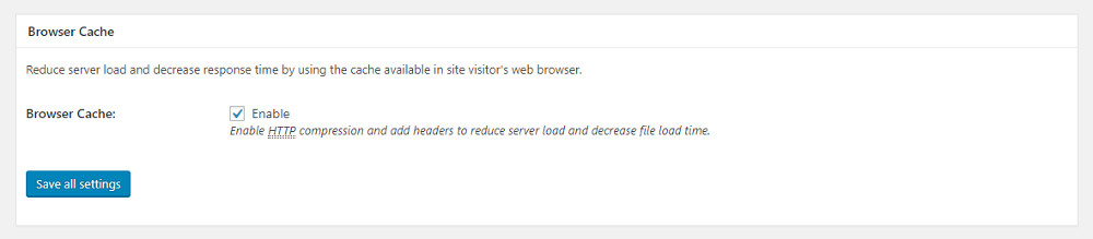 General settings: browser cache