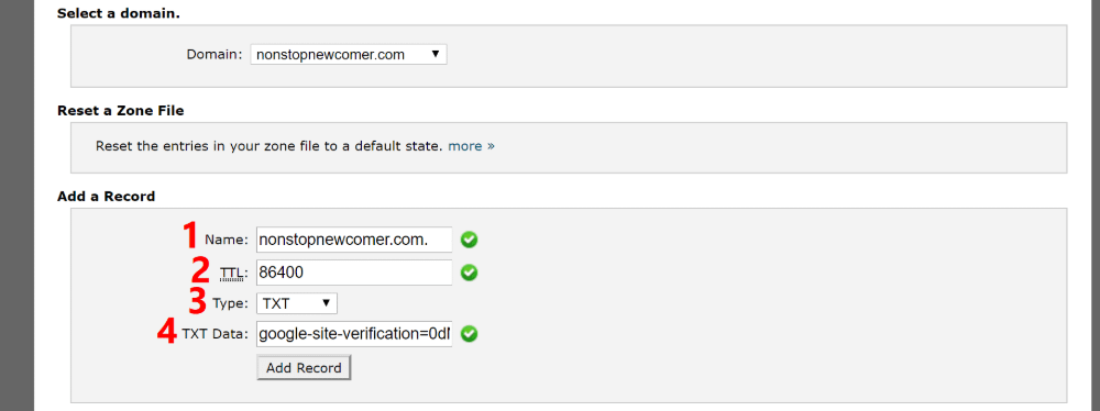 Add TXT record to DNS