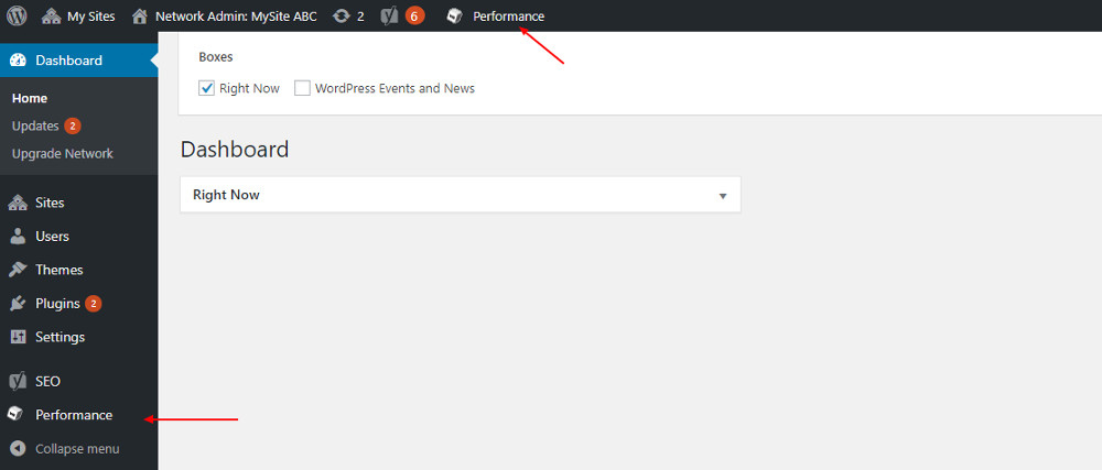 W3 Total cache settings: WordPress dashboard