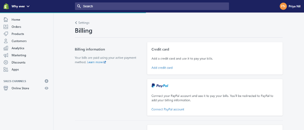 Shopify payment information