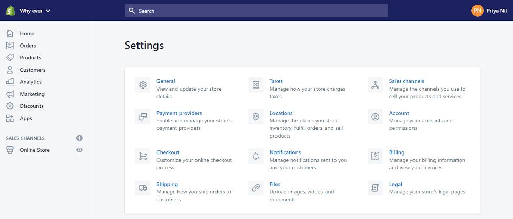 Shopify vs Shopify Plus Admin screen