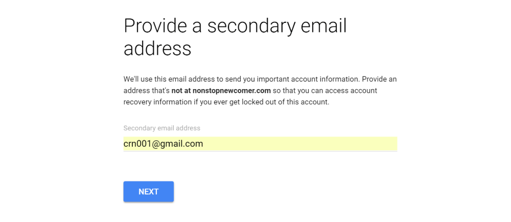Enter secondary email