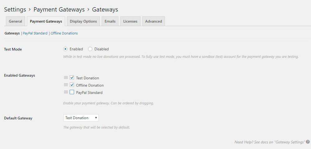 Settings: Payment Gateways - gateway