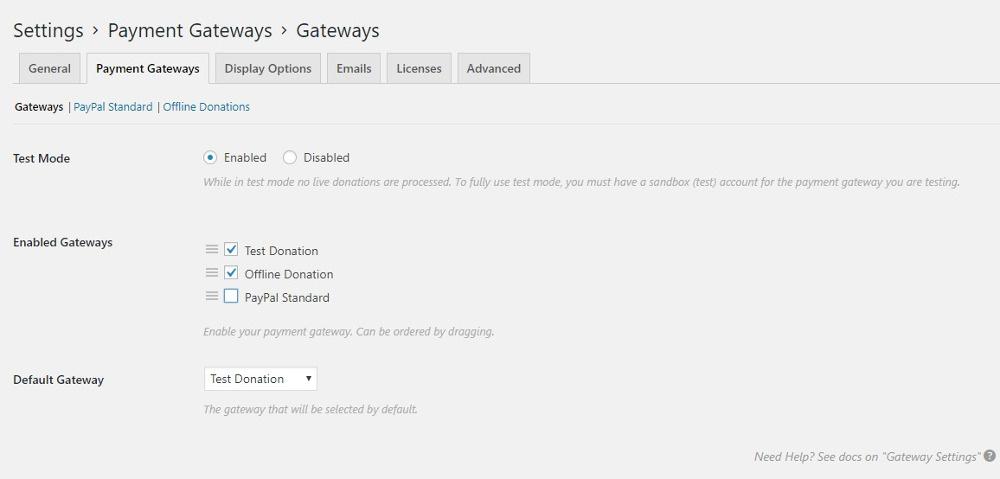 Settings: Payment Gateways - gateway