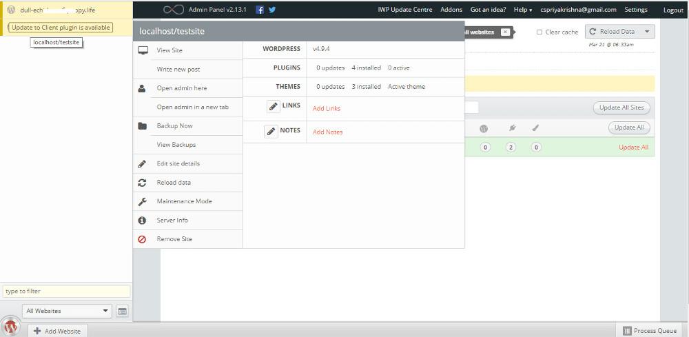 InfiniteWP dashboard