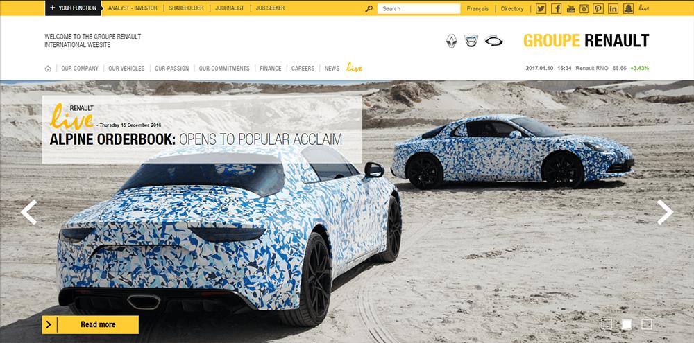 renault- WordPress website examples