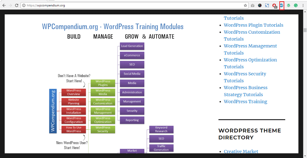 WordPress Chrome Extensions: WP Compendium