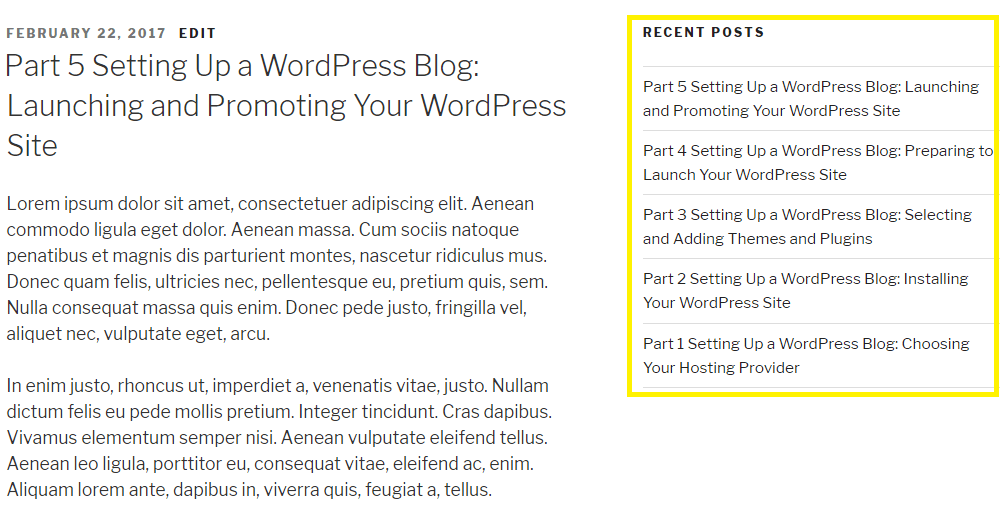 WordPress' default sorting order