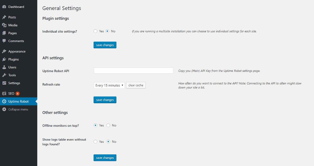 Uptime Robot Plugin for WordPress