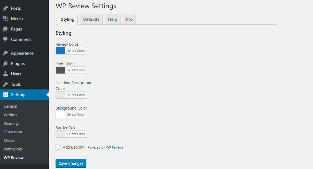 WP Review Styling options