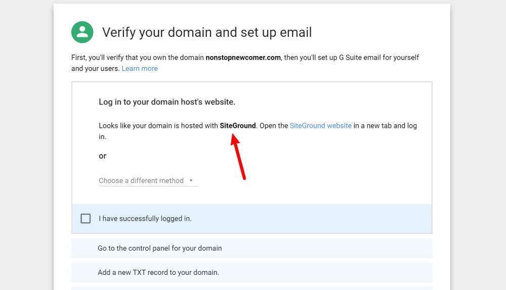 Verify domain ownership